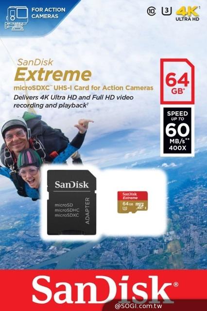 SanDisk推出 Extreme microSD UHS-I運動攝影機專用記憶卡