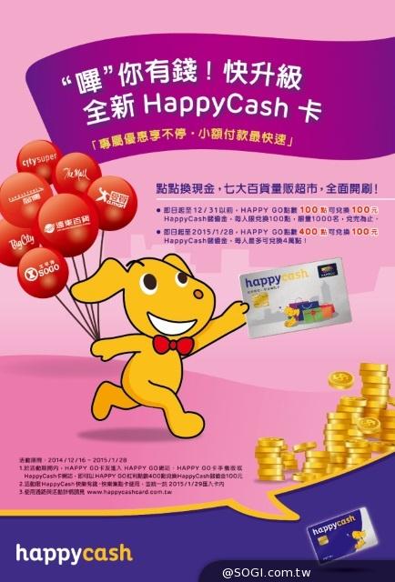 HAPPY GO點數轉儲購物金 100點儲100元限時推出